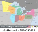 vector set of great lakes... | Shutterstock .eps vector #1026053425