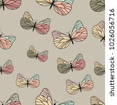 pastel colored butterfly pattern | Shutterstock .eps vector #1026056716