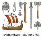 set viking. knife  drakkar  axe ...   Shutterstock .eps vector #1026059758