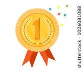 gold medal champion. golden 1st ... | Shutterstock .eps vector #1026081088