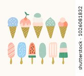set of ice cream icons. summer... | Shutterstock .eps vector #1026081832