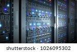 servers close up. modern... | Shutterstock . vector #1026095302