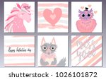 valentines day postcards set... | Shutterstock .eps vector #1026101872