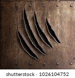 claw marks on rusty metal armor ... | Shutterstock . vector #1026104752
