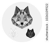grey wolf in lowpoly style on... | Shutterstock .eps vector #1026109522