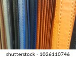 a line of colored leather straps | Shutterstock . vector #1026110746