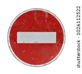old red stop road sign isolated ... | Shutterstock . vector #1026112522
