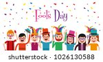 people celebration fools day  | Shutterstock .eps vector #1026130588