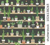 hand drawn different cactuses... | Shutterstock .eps vector #1026138265