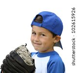 Hispanic Baseball Boy With Blu...