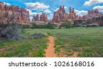 trail through canyonlands... | Shutterstock . vector #1026168016