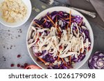 salad of blue cabbage with... | Shutterstock . vector #1026179098