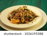 millet with mushrooms and... | Shutterstock . vector #1026195388