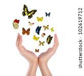 Hand Holding Butterflies