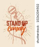 lettered text stand up comedy.... | Shutterstock .eps vector #1026204502
