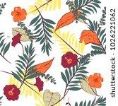 hawaii print vector seamless... | Shutterstock .eps vector #1026221062