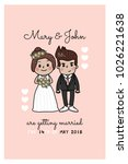 wedding invitation with cute... | Shutterstock .eps vector #1026221638
