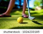mini golf yellow ball with a... | Shutterstock . vector #1026233185