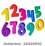 set of colorful 3d numbers | Shutterstock .eps vector #1026234532
