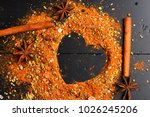 food art concept. set of spices ... | Shutterstock . vector #1026245206