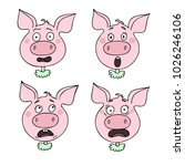 a set of pig emotions ... | Shutterstock .eps vector #1026246106