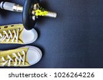 girly gym shoes and heavy... | Shutterstock . vector #1026264226