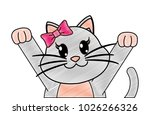 grated adorable female cat with ... | Shutterstock .eps vector #1026266326