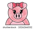 grated adorable female pig cute ... | Shutterstock .eps vector #1026266332