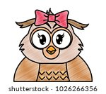 grated adorable female owl cute ... | Shutterstock .eps vector #1026266356