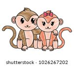 grated monkey couple cute... | Shutterstock .eps vector #1026267202