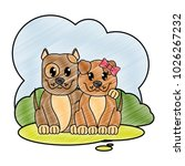 grated dog couple cute animal... | Shutterstock .eps vector #1026267232