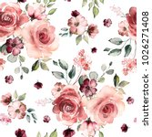 Stock photo seamless pattern with spring flowers and leaves hand drawn background floral pattern for 1026271408