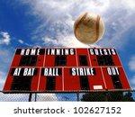 Baseball homerun with scoreboard and Blue Sky - stock photo