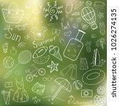 a set of doodles on a summer... | Shutterstock .eps vector #1026274135