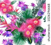 tropical flowers seamless... | Shutterstock .eps vector #1026296668