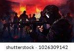 swat soldier shooting zombies....   Shutterstock . vector #1026309142