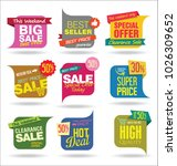 modern sale stickers and tags... | Shutterstock .eps vector #1026309652