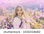 girl with flowers. girl in... | Shutterstock . vector #1026318682