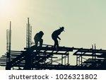 silhouette city worker ... | Shutterstock . vector #1026321802