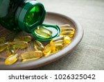 yellow vitamin d3 ... | Shutterstock . vector #1026325042