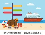 cruise ship on the sea and... | Shutterstock .eps vector #1026330658