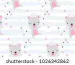 seamless pattern with cute bear ... | Shutterstock .eps vector #1026342862