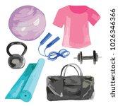 vector set of gym  yoga or... | Shutterstock .eps vector #1026346366