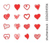 hand drawn hearts sketch ... | Shutterstock .eps vector #1026354556