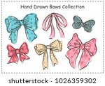 set of beautiful graphic bows.... | Shutterstock .eps vector #1026359302