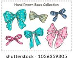set of beautiful graphic bows.... | Shutterstock .eps vector #1026359305