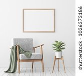 interior poster mock up with... | Shutterstock . vector #1026373186