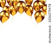 gold metallic baloons on the... | Shutterstock . vector #1026375478