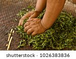 hands pressing moisture from... | Shutterstock . vector #1026383836