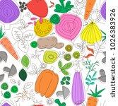 vegetables seamless pattern.... | Shutterstock .eps vector #1026383926